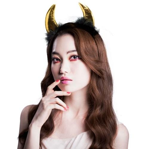 악마 뿔 깃털 머리띠 중 [골드]_(11834910)