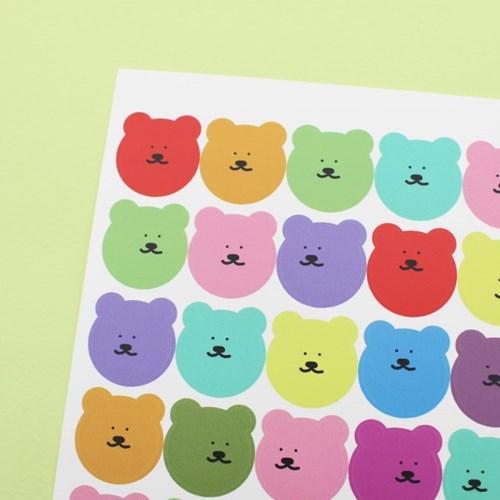 [한톨상점]알록달록 반곰이 스티커