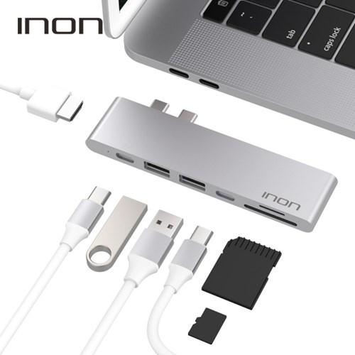 아이논 USB 3.0 C타입 듀얼 7in1 멀티허브 썬더볼트3 맥북프로