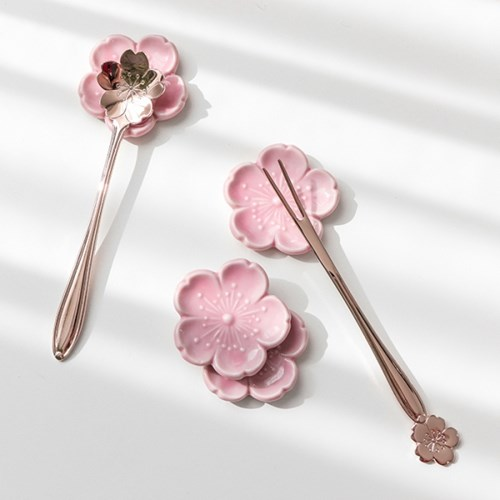벚꽃 로즈골드 티스푼 티포크 2타입_(1376085)