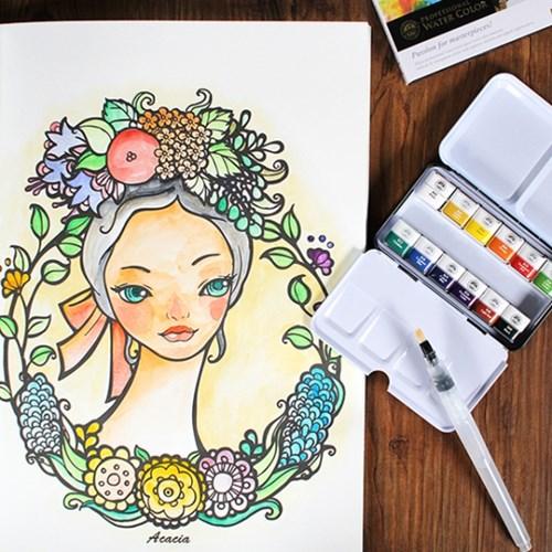 배귀영 컬러링 북:소녀와 꽃과 동그라미