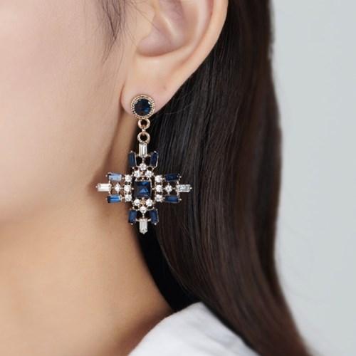 다크블루 십자가 귀걸이