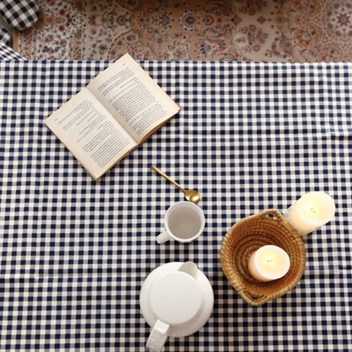빈티지 네이비체크 방수테이블보/식탁매트