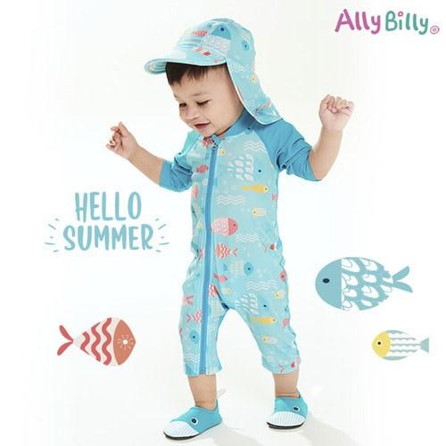 앨리빌리 베블루 아기래쉬가드 와플 수영복 스윔슈트