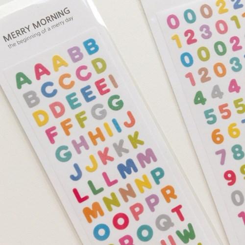 메리모닝 씰스티커 ver.2 알파벳/숫자 (홀로그램)