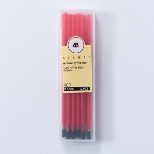식스비 지워지는 볼펜 전용 리필심 12개세트 0.5mm_(2413091)