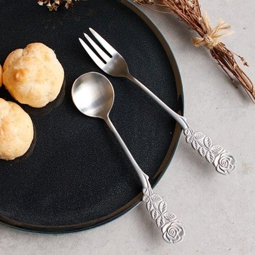 빈티지 장미 화채스푼 케익포크