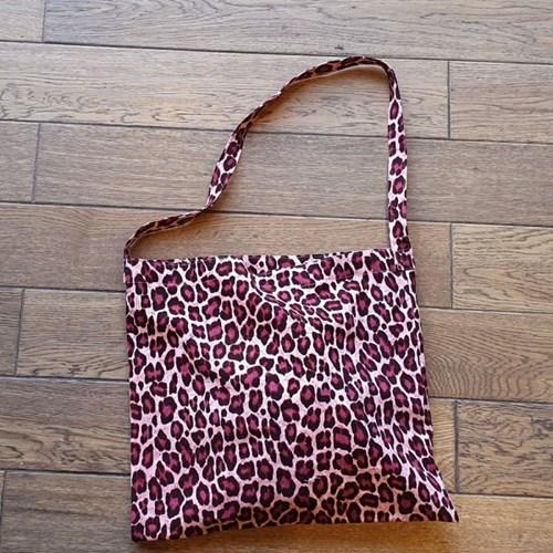 Linen reopard bag_펑키핑크
