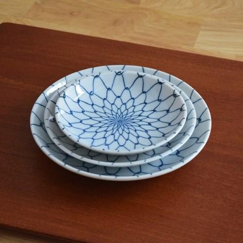블루 패턴 그물 문양 플레이트 3 Size