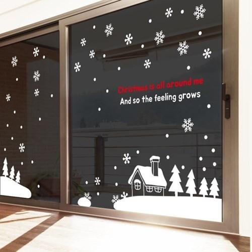 크리스마스 눈꽃 쇼윈도우 스티커 눈 내리는 마을