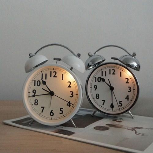 트윈벨 무소음 알람시계 (건전지포함) 자명종