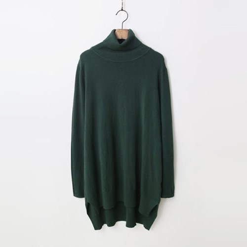 Cashmere N Wool Turtleneck Unbal Knit