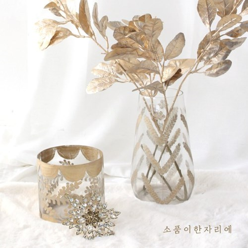골드 페인팅 유리 화병