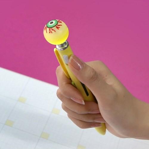 핑크풋 눈알LED 4색 볼펜(0.7mm)