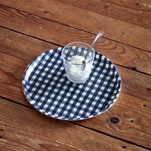 포그린넨 트레이 원형 네이비 화이트 체크
