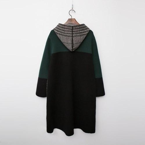 Wool Hood Check Warm Knit Coat