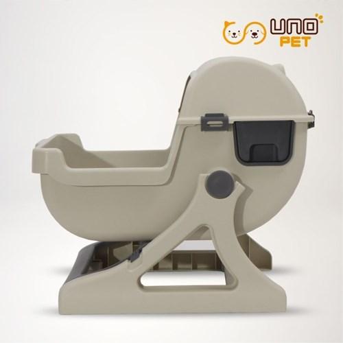 반자동 고양이화장실 모래 분리형 - 티타늄라떼