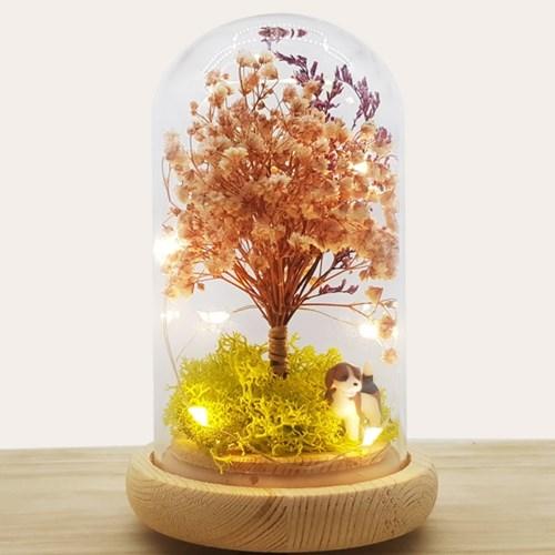 [숲앤숨]LED 유리돔 안개나무 무드등 - 프리저브드 드라이플라워