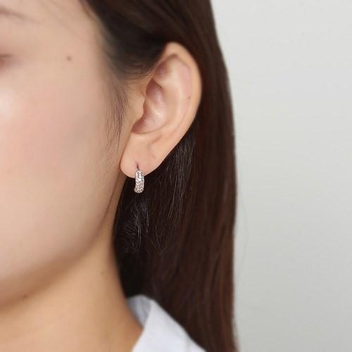 핑크 심플 후프 귀걸이 (s)