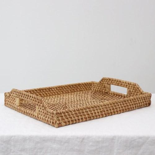 천연 라탄 사각 트레이 나무 손잡이 쟁반