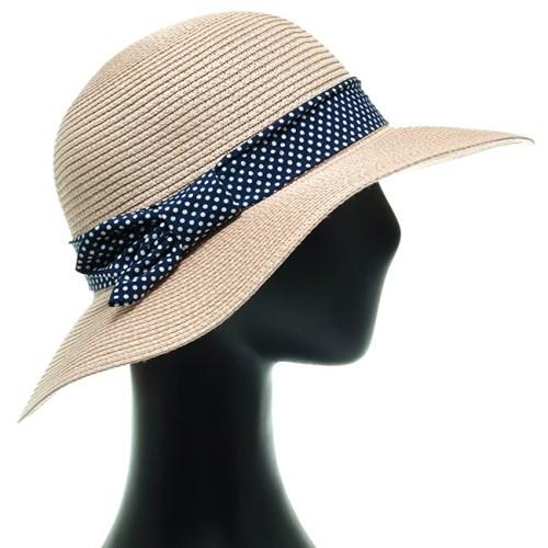 [플릭앤플록]ICP13.도트밴드 밀짚 여성 큰챙 여름 모자