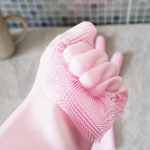 실리콘재질 수세미장갑 핑크