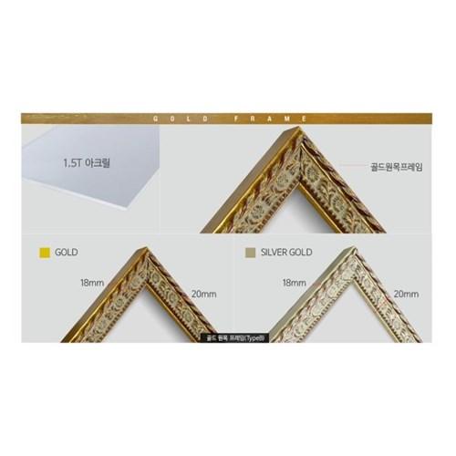 골드원목 프레임 Type B 액자 정사각형 사이즈 모음