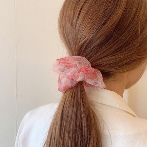 [2개세트][2color] 로즈 장미 수채화 곱창 머리끈 세트