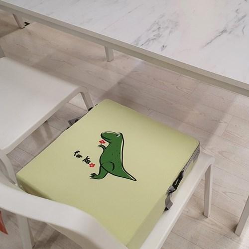 하쥬르 키높이 유아 어린이 식탁 의자 방석 (2중안전장치) - 공룡