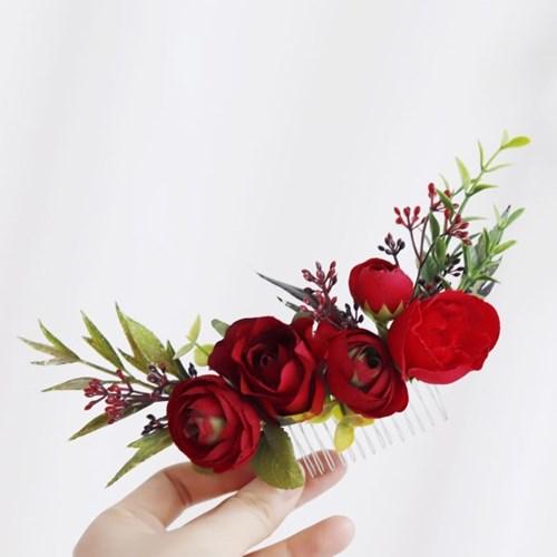 Red Flower Mix 조화헤어핀