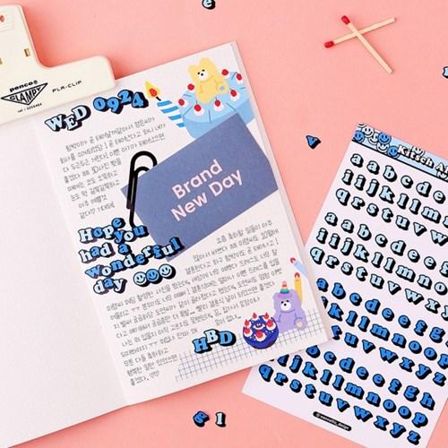 키치키치 알파벳, 숫자 스티커 7가지 컬러 세트