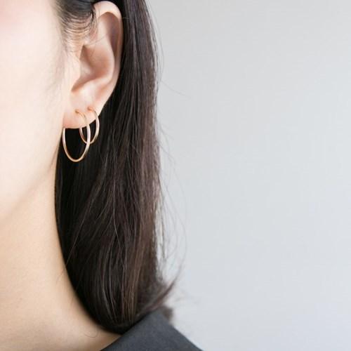 14k gf simple ring earrings (4size) (14K 골드필드)