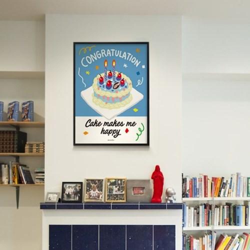 콩그레츄레이션 케이크 M 유니크 인테리어 디자인 포스터 카페