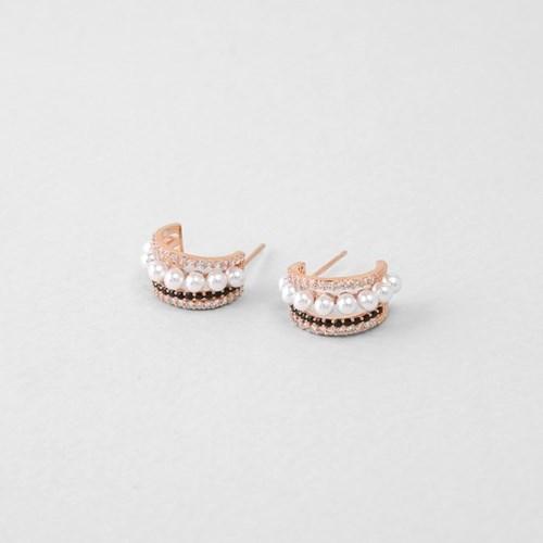 [쥬디앤폴] 리베로 트리플 라인 블랙 후프 귀걸이 E51648
