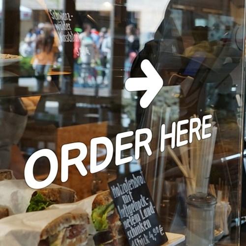 Order here 가게 주문은여기서 카운터 레터링 스티커