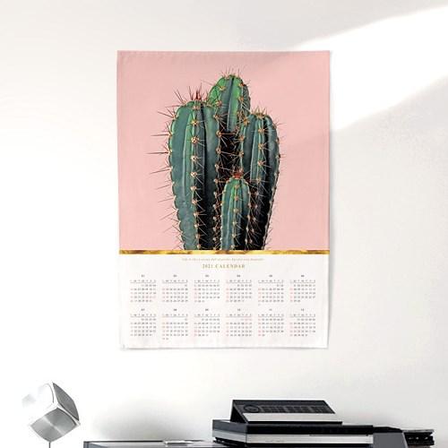 2021 패브릭 천 달력 포스터 디자인 캘린더 선인장 패밀리