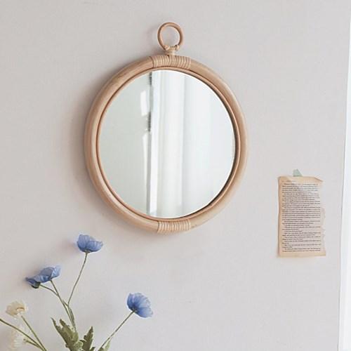 라탄 원형 우드프레임 벽거울
