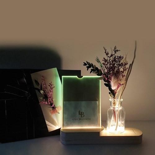 플라워 무드등 천연 디퓨저+액자 선물 박스 세트
