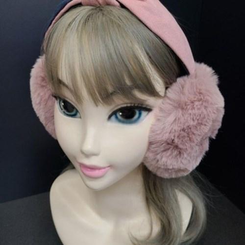 밍크 퍼 방한 리본 베이지 핑크 데일리 패션 귀마개