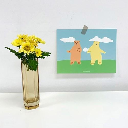 댄싱 베어 일러스트 엽서 포스터