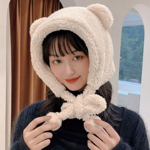 곰도리 귀여운 겨울 뽀글이 털방울 털모자_(2512439)