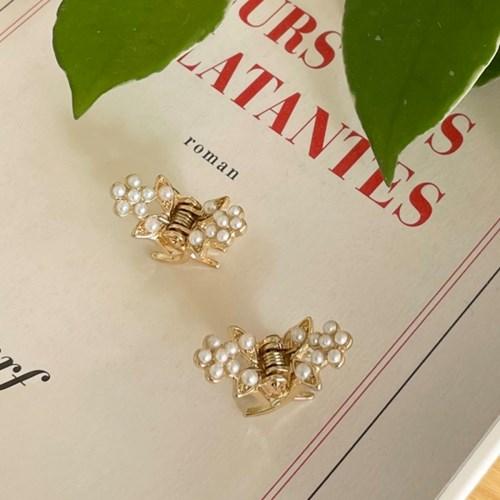 [SET] flower pearl hair clips