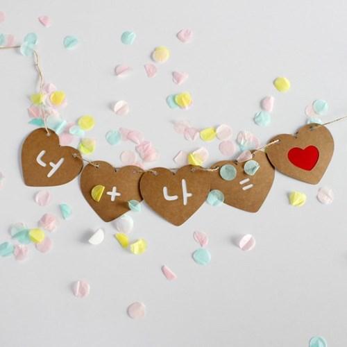 (맞춤제작) 프로포즈 웨딩 하트 가랜드 만삭 생일 환갑 칠순 배너