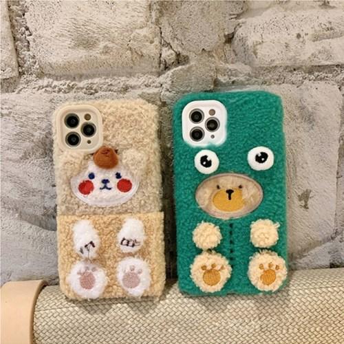 베어 뽀글이 양털 핸드폰 케이스