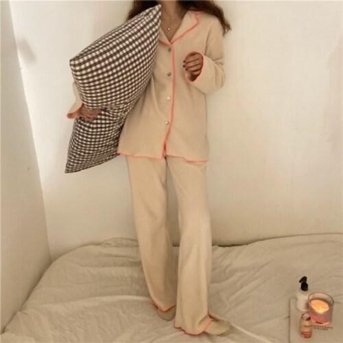 오렌지 라인 후리스 수면잠옷 파자마 홈웨어
