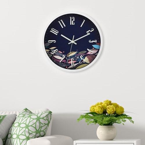 파인아트 나뭇잎 원형 벽시계 / 인테리어 벽걸이시계