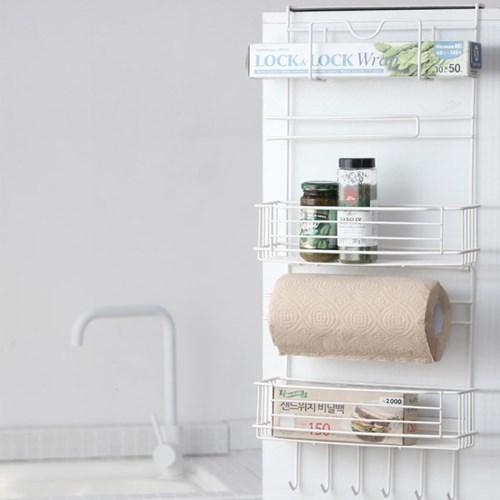 모던 심플 무타공 다용도 사이드랙 자석부착 냉장고 선반