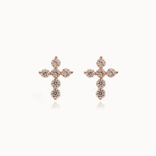 제이로렌 M03453 행운 실버 큐빅 십자가 귀걸이_(1235069)