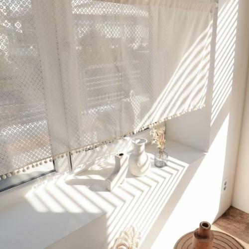 심플 아이보리 레이스 폼폼 주방바란스 작은창커튼 130x60 (cm)