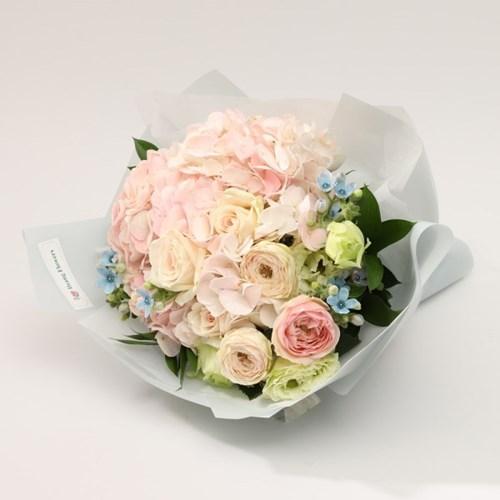피치핑크 수국 꽃다발L (생화, 전국택배)